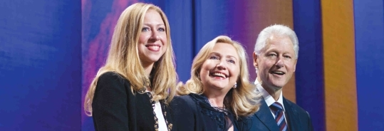 Hillary Clintons family. From left: Chelsea (daughter), Hillary, and Bill Clinton (former president)