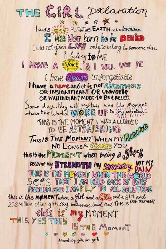 """The cover of """"The Girl Declaration,"""" handwritten by children.   ⓒwww.girleffect.org"""