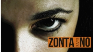 "Campaign ad for ""Zonta Says NO"" campaign run by International Zonta Club."