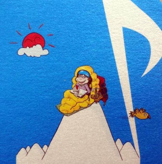 The cartoon illustration on Kims business card