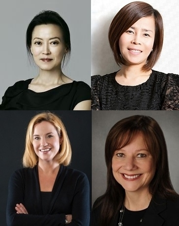 Chae Yang-seon, assistant managing director at Kia motors, Noh Sun-hee, PR director at Ford Korea, Mary Barra, CEO of GM, and Britta Seeger, CEO of Mercedes-Benz Korea (clockwise). (c) Womens News