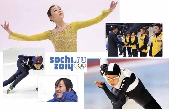 Kim Yuna, the women's curling team, Lee Sang-hwa, Lee Chae-won, Shim Seok-hee (clockwise from top left). ⓒ Women's News