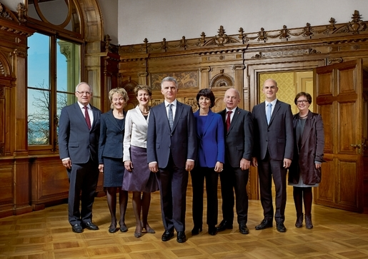 Members of the Federal Council. President Didier Burkhalter, fourth from the left. There is an equal number of male and female representatives.