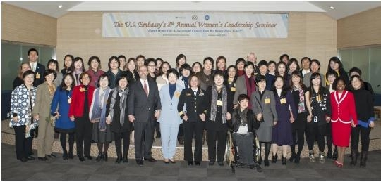 Representatives from the U.S. Embassy in Korea and the Women's News at Sookmyung Women's University