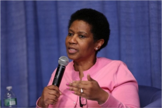 UN Women Executive Director Phumzile Mlambo-Ngcuka speaking at an event related to education for women hosted by Unicef.