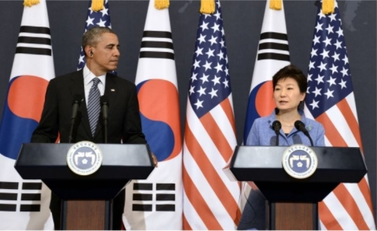 President Park and President Obama at a press conference after bilateral meeting on April 25.