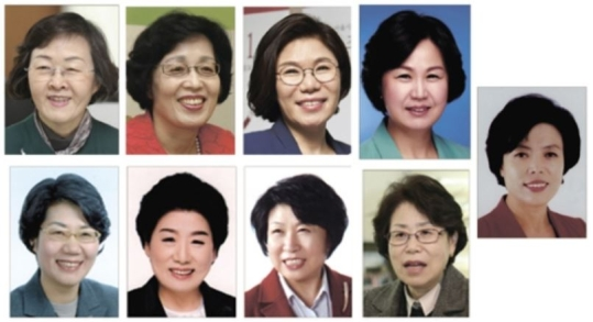 (From left) Elected officials: Shin Yeonhee, Park ChunHee, Choi Eunhee, Kim Suyoung, Shin Gyeyong, Hong Miyoung, Yun Soonyoung, Kim Eunsook, and Song Sukhee