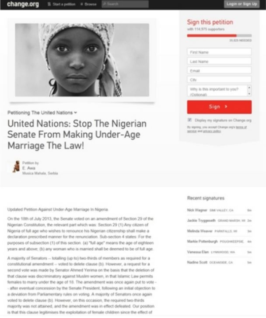 Online petition calling on the UN to put a stop to under-age child marriage in Nigeria.