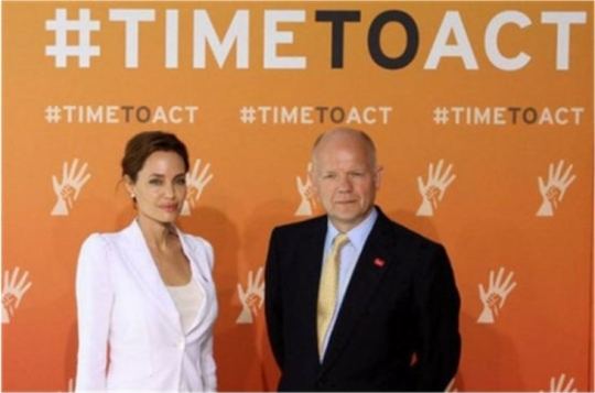 The Global Summit to End Sexual Violence in Conflict co-chaired by Angelina Jolie and the UK Foreign Secretary William Hague.